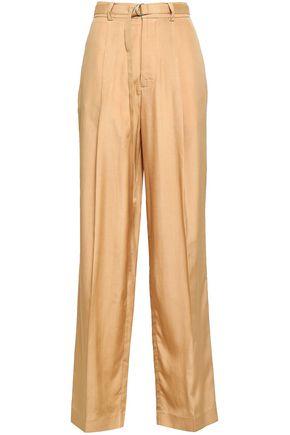 JOSEPH Belted silk wide-leg pants