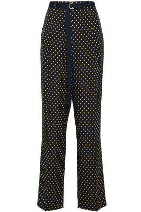JOSEPH Polka-dot silk crepe de chine wide-leg pants