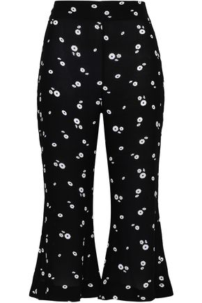 PAPER London Cropped floral-print crepe kick-flare pants
