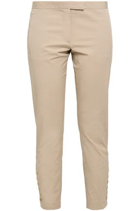 JOSEPH Finley cropped button-detailed stretch-cotton twilll slim-leg pants