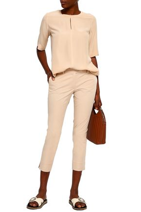 JOSEPH Cropped stretch-cotton twill slim-leg pants