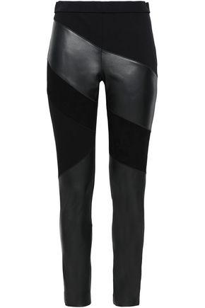 DIANE VON FURSTENBERG Suede-paneled leather skinny pants