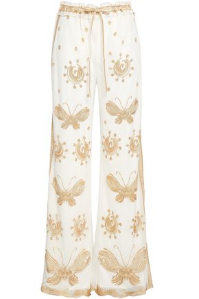 DIANE VON FURSTENBERG Davin metallic embroidered tulle wide-leg pants