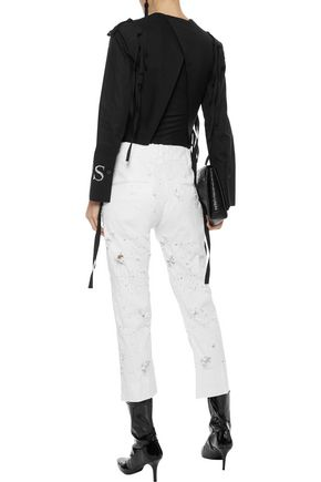 ANN DEMEULEMEESTER Cropped distressed mid-rise slim-leg jeans