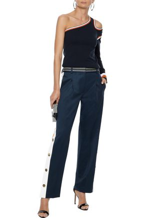 PETER PILOTTO Snap-detailed striped stretch-wool straight-leg pants