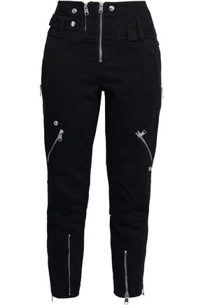 ALEXANDER MCQUEEN Zip-detailed high-rise slim-leg jeans