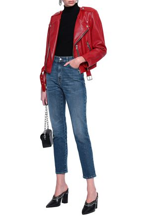 ALEXANDER MCQUEEN Embroidered high-rise skinny jeans