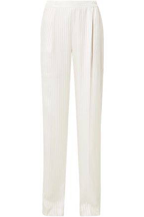 STELLA McCARTNEY Striped silk-jacquard wide-leg pants