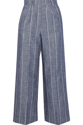 IRIS & INK Kinsley striped cotton and linen-blend culottes