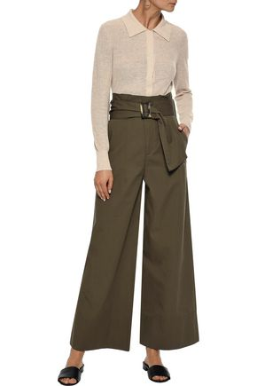 IRIS & INK Callie belted cotton-twill wide-leg pants