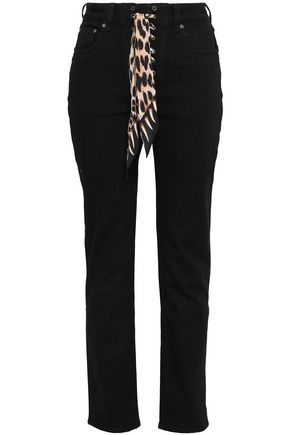 ROCKINS Silk-trimmed high-rise straight-leg jeans