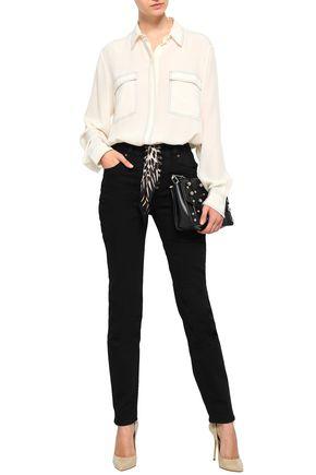 ROCKINS Silk-trimmed high-rise straight-leg jeans