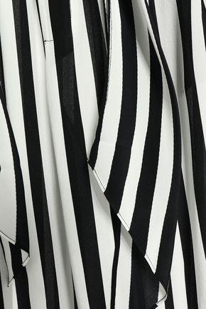 ROCKINS Striped silk crepe de chine wide-leg pants
