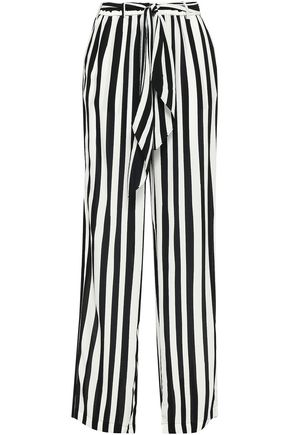 ROCKINS Striped silk crepe de chine wide-leg pants