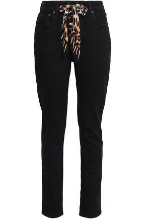 ROCKINS Silk-trimmed high-rise slim-leg jeans