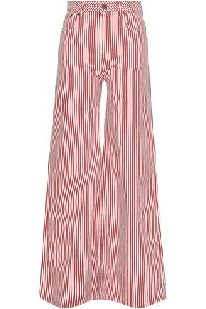 ROCKINS Striped high-rise wide-leg jeans
