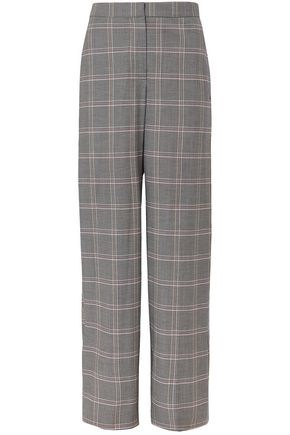 CEDRIC CHARLIER Checked wool-blend wide-leg pants