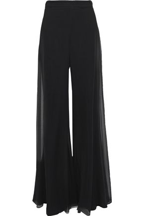 CUSHNIE ET OCHS Layered georgette wide-leg pants