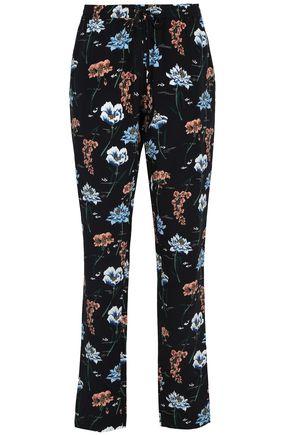 MARKUS LUPFER Floral-print silk straight-leg pants