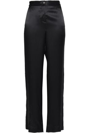 EQUIPMENT Button-detailed silk-satin wide-leg pants