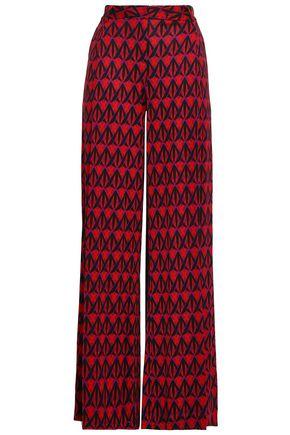 DIANE VON FURSTENBERG Printed silk-jersey wide-leg pants