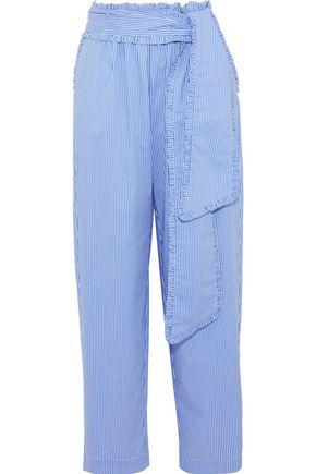 MSGM Tie-front striped cotton-blend poplin wide-leg pants
