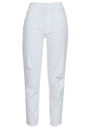 MOTHER Distressed mid-rise straight-leg jeans