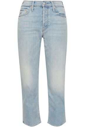 MOTHER Cropped high-rise straight-leg jeans