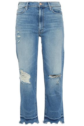 MOTHER Cropped distressed high-rise straight-leg jeans