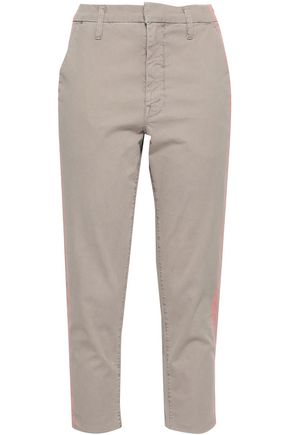 MOTHER Cropped stretch-gabardine tapered pants