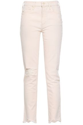 MOTHER Distressed high-rise slim-leg jeans