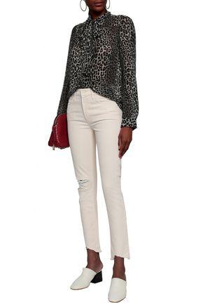 MOTHER Distressed high-rise slim-leg jeans