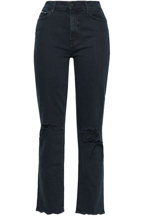 MOTHER Distressed high-rise straight-leg jeans