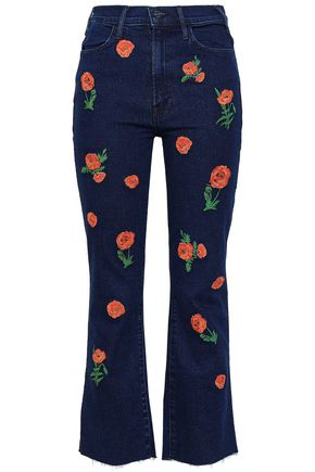 MOTHER Cropped embroidered high-rise bootcut jeans