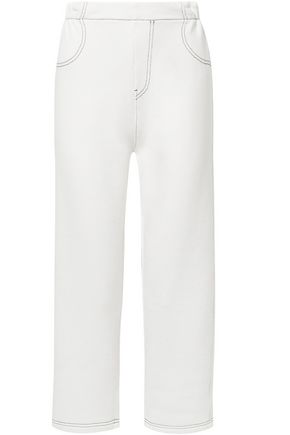 MM6 MAISON MARGIELA Cropped French cotton-blend terry straight-leg pants