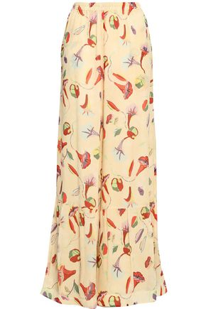 REDValentino Floral-print silk-georgette wide-leg pants