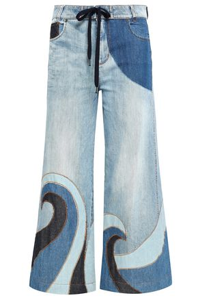 REDValentino Cropped patchwork high-rise straight-leg jeans