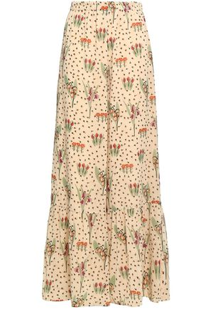 REDValentino Floral-printed stretch-silk chiffon wide-leg pants