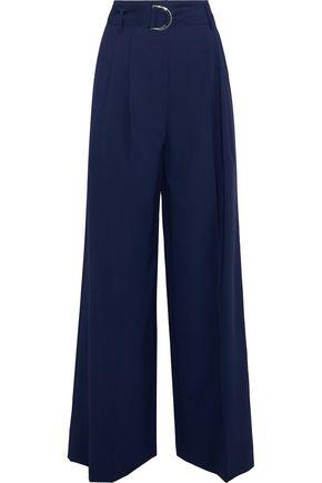 DIANE VON FURSTENBERG Belted pleated stretch-wool wide-leg pants
