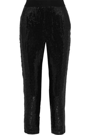 ALICE + OLIVIA Stacey cropped sequined crepe slim-leg pants