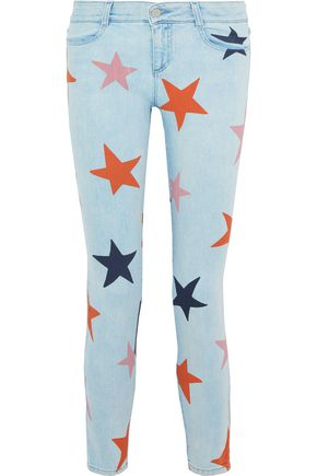 STELLA McCARTNEY Cropped printed low-rise slim-leg jeans