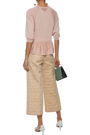 RED(V) Cropped brocade wide-leg pants