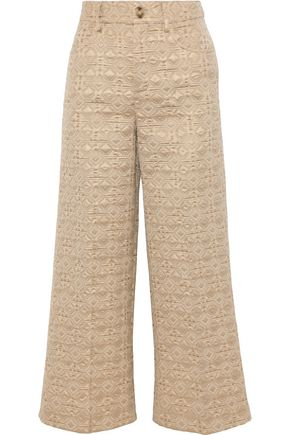REDValentino Cropped brocade wide-leg pants