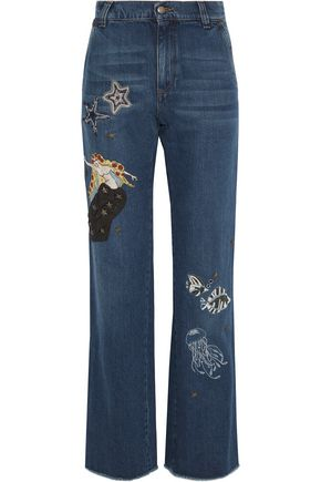REDValentino Embellished high-rise straight-leg jeans