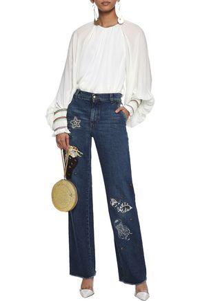 REDValentino Embellished high-rise straight-leg jeans
