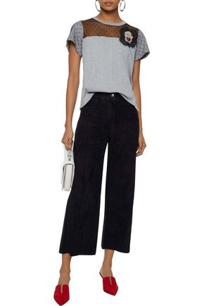 REDValentino Cropped suede wide-leg pants