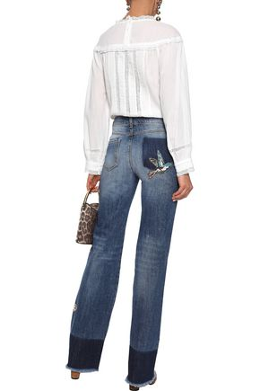 REDValentino Appliquéd faded high-rise straight-leg jeans