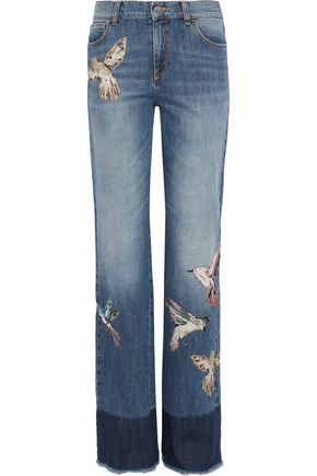 Appliquéd Faded High Rise Straight Leg Jeans by Red Valentino