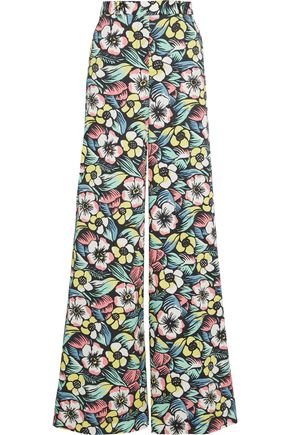 REDValentino Floral-print stretch-cotton wide-leg pants