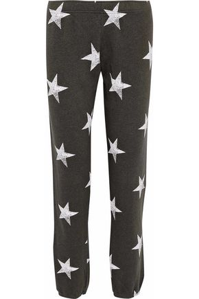 MONROW Printed cotton-blend fleece track pants